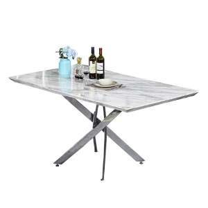 Deltino Grey Marble Effect Dining Table With Chrome Legs