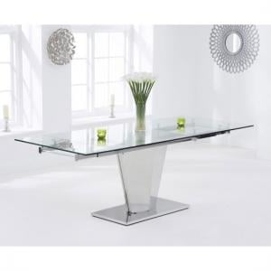 Deluca Glass Dining Table In Clear With Stainless Steel Base