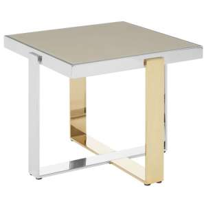 Cervantes Glass End Table With Gold And Silver Base