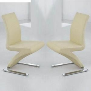 Demi Z Dining Chairs In Cream Faux Leather in A Pair