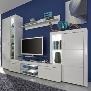 Roma Living Room Set In White With High Gloss Fronts And LED