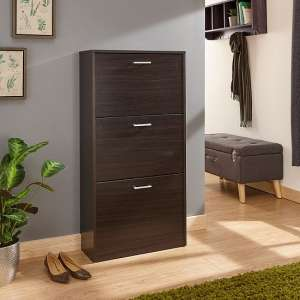 Denny Three Tier Shoe Cabinet In Espresso Finish