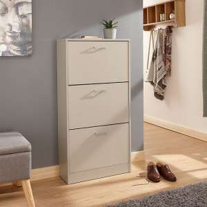 Denny Three Tier Shoe Cabinet In Grey Finish