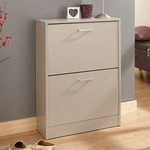 Denny Two Tier Shoe Cabinet In Grey Finish