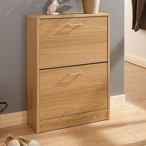 Denny Two Tier Shoe Cabinet In Oak Finish