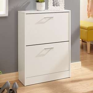 Denny Two Tier Shoe Cabinet In White Finish