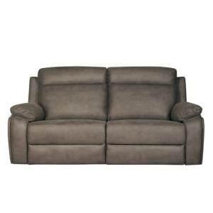 Denton Contemporary Fabric Recliner 3 Seater Sofa In Grey