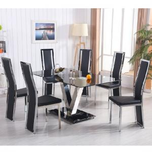 Derby V Glass Dining Set In Black With 6 Collete Chairs