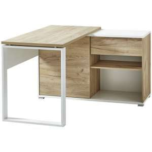 Derrick Wooden Computer Desk In White And Navarra Oak