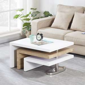 Design Rotating Coffee Table In White High Gloss And Oak