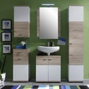 Desire Bathroom Furniture Set In Sanremo Oak And White With LED