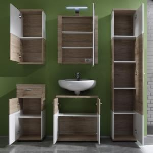 Desire Bathroom Furniture Set In Sanremo Oak And White With LED_2