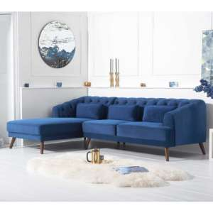 Destone Velvet Upholstered Left Handed Corner Sofa In Blue