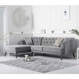 Destone Velvet Upholstered Left Handed Corner Sofa In Grey