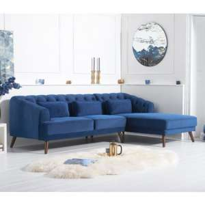 Destone Velvet Upholstered Right Handed Corner Sofa In Blue