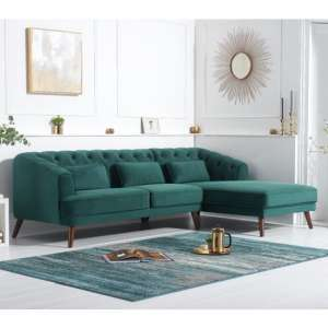 Destone Velvet Upholstered Right Handed Corner Sofa In Green