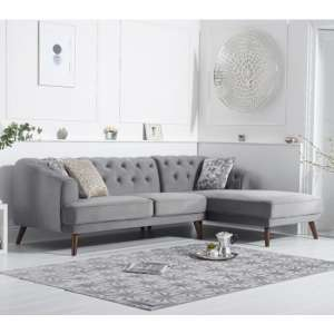 Destone Velvet Upholstered Right Handed Corner Sofa In Grey