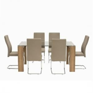Devan Glass Dining Table Set In Clear With 6 Taupe Chairs
