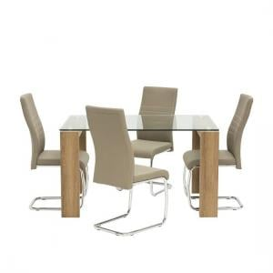 Devan Glass Dining Table Small In Clear With 4 Taupe Chairs