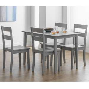 Devanna Wooden Dining Table In Grey Lacquer With Four Chairs