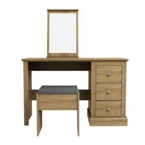 Devon Wooden Dressing Table Set In Oak