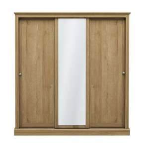 Devon Wooden Sliding Wardrobe In Oak With 3 Doors