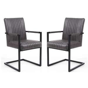 Dewall Cantilever Chair In Grey With Black Frame In A Pair