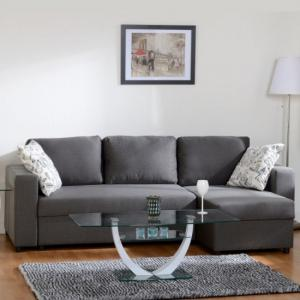 Dexter Corner Sofa Bed In Dark Grey Fabric With Storage
