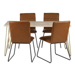 Dhort Dining Table In Natural With 4 Brown Catila Chairs