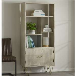 Dhort Wooden Bookcase In Natural With 2 Doors 5 Shelves