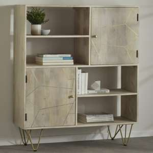 Dhort Wooden Display Cabinet In Natural With 2 Doors