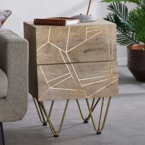 Dhort Wooden Side Table In Natural With 2 Drawers