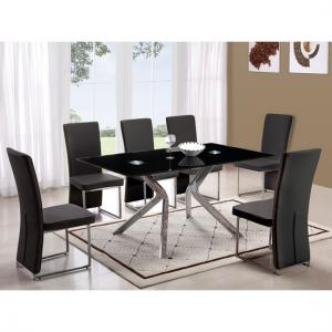 Solitaire Black Glass Dining Table With 4 Black Chairs