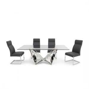 Diego Glass Dining Table In Clear With 6 Swiss Grey PU Chairs