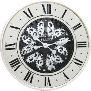 Dimmick Roman Numerals White And Black Round Wall Clock