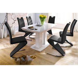 Genisimo High Gloss 6 Seater Dining Table With Amado Chairs