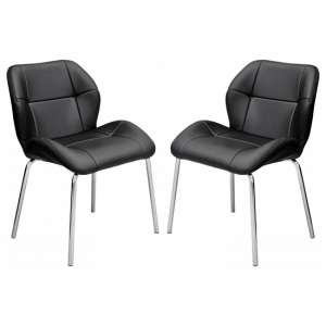 Dinky Bistro Black Faux Leather Dining Chairs In Pair