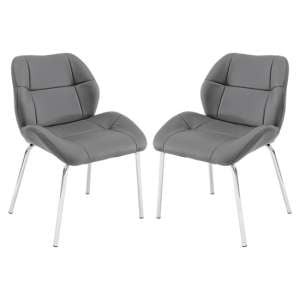 Dinky Bistro Grey Faux Leather Dining Chairs In Pair
