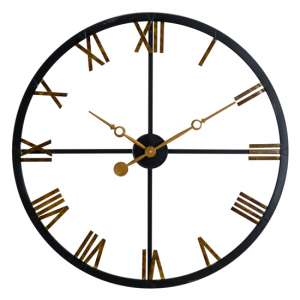 Distress Skeleton Station Metal Wall Clock In Black And Gold
