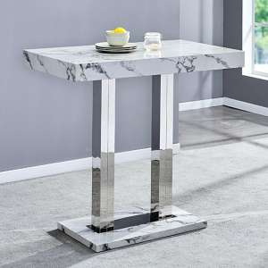 Diva Rectangular Bar Table In Gloss Marble Effect