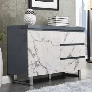 Diva Small Grey Gloss Sideboard With 3 Drawers And 1 Door