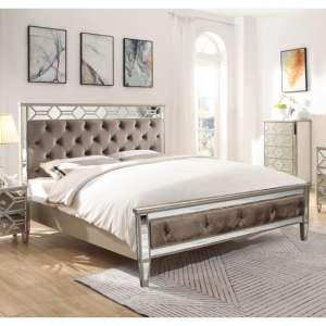Dominga Mirrored King Size Bed In Silver
