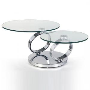 Donatella Swivelling Glass Coffee Table And Polished Steel Base
