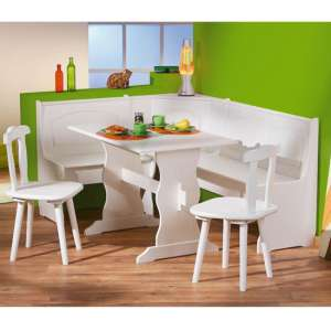 Donau Wooden Corner Bench Dining Set In White With 2 Chairs