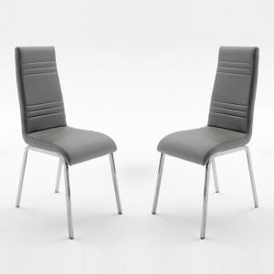 Dora Dining Chair In Grey Faux Leather In A Pair