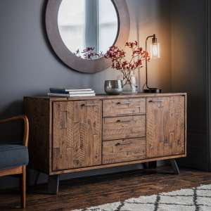 Dorsey Rustic Wooden Sideboard In Acacia Wood With 2 Doors