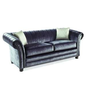 Dovern Fabric 3 Seater Sofa In Charcoal With Limed Oak Bun Feet