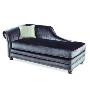 Dovern Left Lounge Chaise In Charcoal And Limed Oak Bun Feet