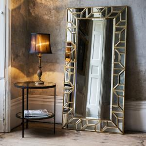 Dresden Leaner Floor Mirror Rectangular In Painted Gold