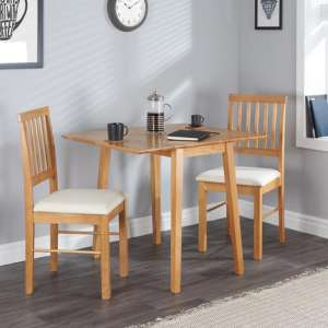Drop Leaf Wooden Dining Set In Oak With 2 Chairs
